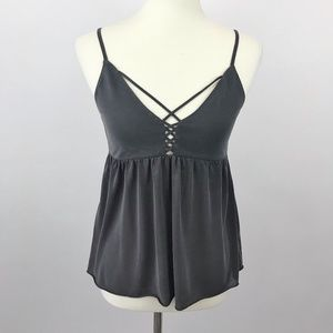 AEO Soft & Sexy Gray Suede Empire Waist Tank Top
